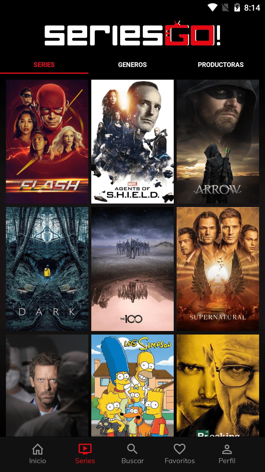 Lista de series en SeriesGO